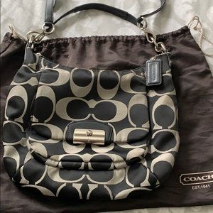 Coach Black and White hobo with Leather handle